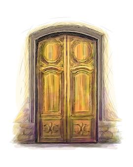 建築、正面玄関の背景、手描きの古い木製のドアの要素。ベクトルイラスト