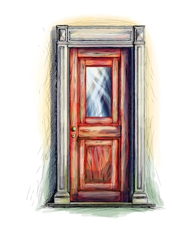 건축, 정문 배경, 손으로 그려진 된 오래 된 나무로되는 문 요소. 벡터 일러스트 레이 션