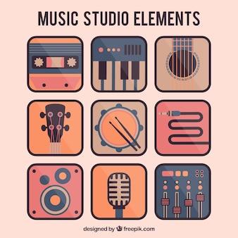 평면 디자인의 음악 스튜디오의 요소 무료 벡터
