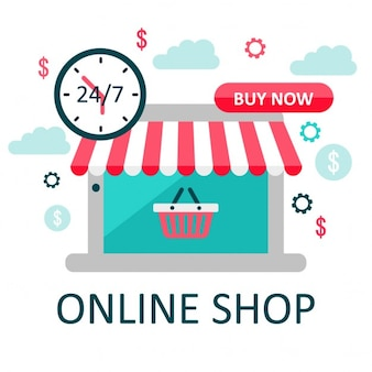 Elements of online shopping, flat style