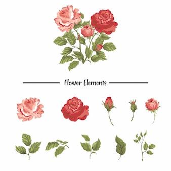 水彩風のバラの要素