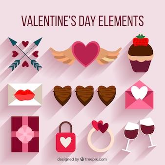 Элементы валентина и шоколад