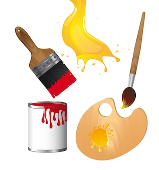 Elements of paint isolated over white background vector