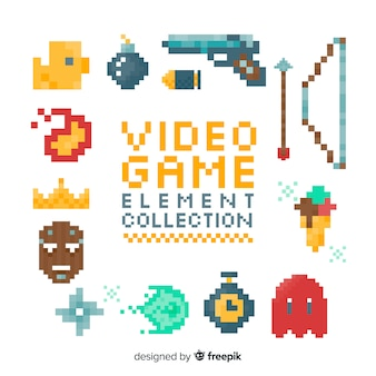 Elements pixelated about video games
