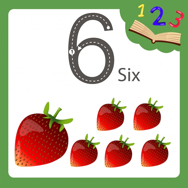 Elements of six number strawberry