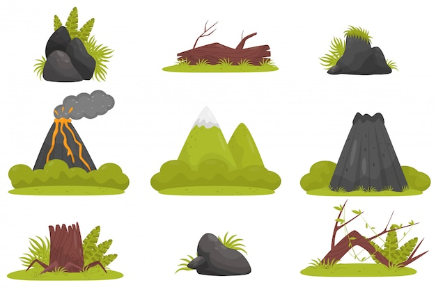 Elements of tropical jungle forest landscape set, volcano, stones, mountains, plants  illustration on a white background