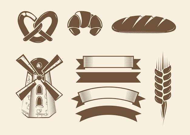 Elements for vintage vector bakery logotypes