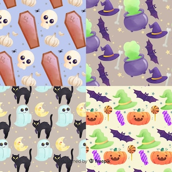 Elements in watercolour halloween pattern collection