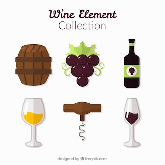 Elements of wine pack in flat design