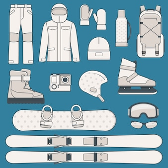 Elements of winter sports and activities. winter sports equipment icon set.  illustration