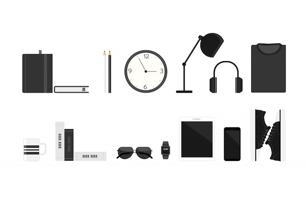 Elements with gadget personal and business icons