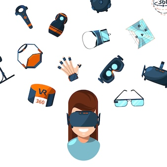 Elements and woman person in vr glasses
