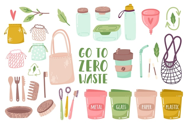 Elements of zero waste life in vector glass jars eco bags wooden cutlery comb toothbrush
