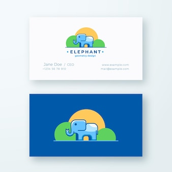 Elephan geometry design. abstract sign or logo and business card template.