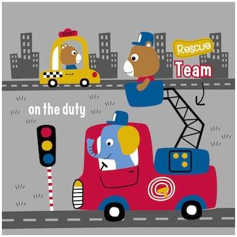 象と消防士の面白い動物の漫画を負担します