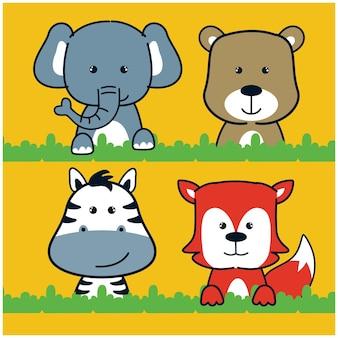 ジャングルの面白い動物の漫画の象と友達