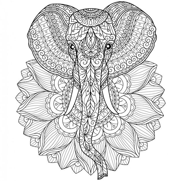 象と蓮の花。大人の塗り絵の手描きのスケッチ図
