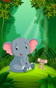 Elephant and mouse in the clear and green forest