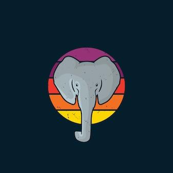 빈티지 스타일 로고 코끼리와 일몰