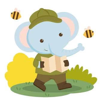 하이킹 옷을 입고지도를 들고 코끼리 동물 캐릭터