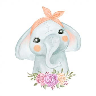 Elephant baby cute with flower wreath watercolor illustration
