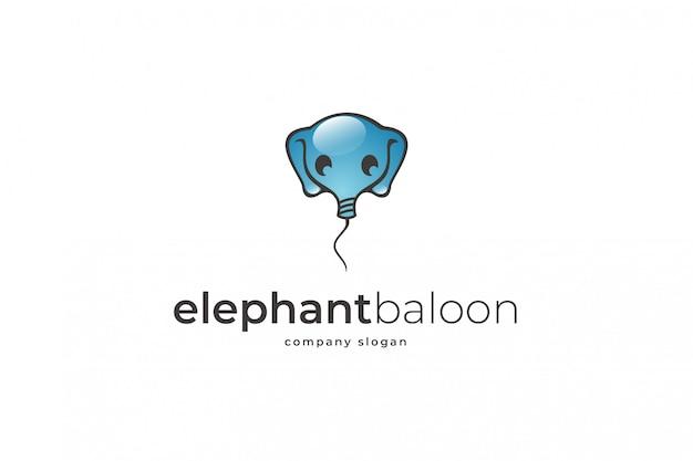 象の風船のロゴのテンプレート