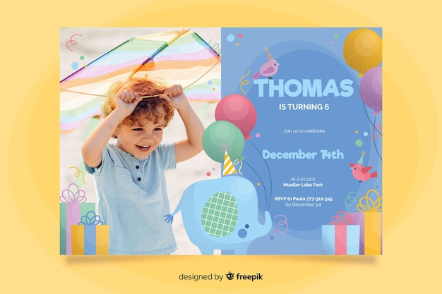 Elephant birthday invitation template with photo