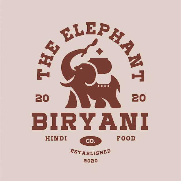 Elephant biryani logo editable