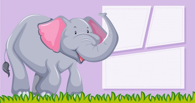An elephant on blank template