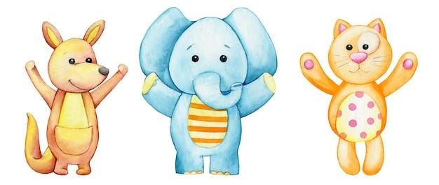 Elephant blue, kangaroo brown, cat red. watercolor cute, animal, cartoon style.