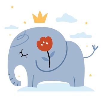 Elephant in boho style Premium Vector