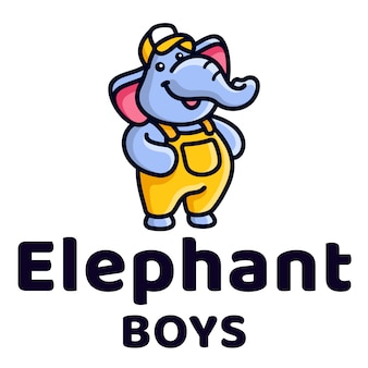 Elephant boys cute kids logo template