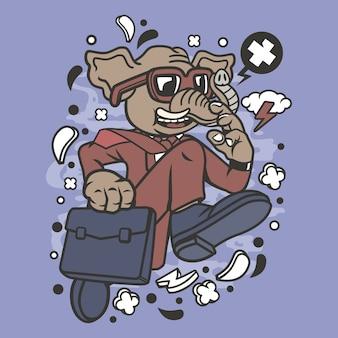 Elephant businessman running cartoon
