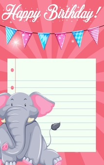 Elephant on card template