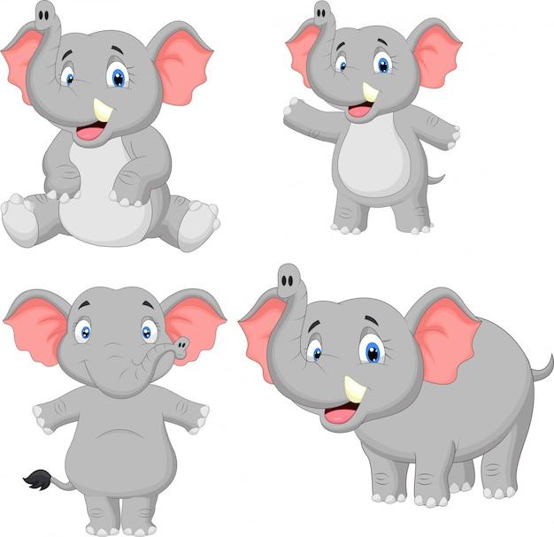 Elephant cartoon collection set