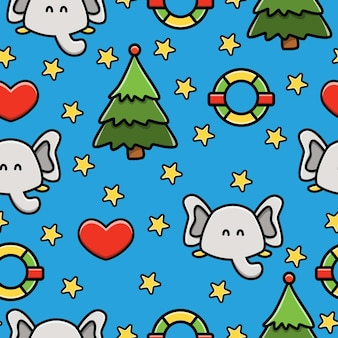 Elephant cartoon doodle seamless pattern