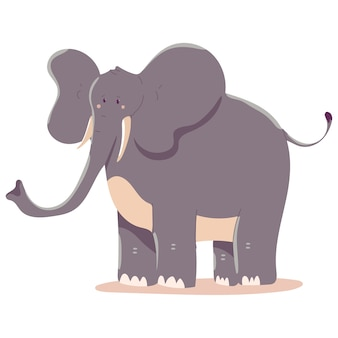Elephant  cartoon illustration isolated on a white background.