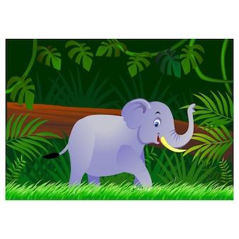 森の背景に象の漫画