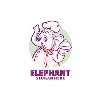 白で隔離される象のシェフのロゴ