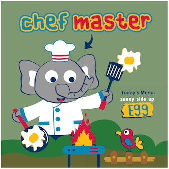 Elephant the chef master funny animal cartoon