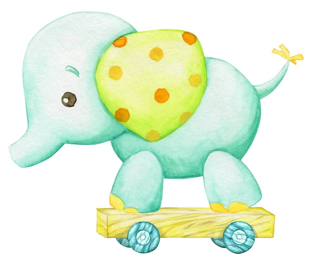 Elephant, children's toy, in cartoon style watercolor drawing