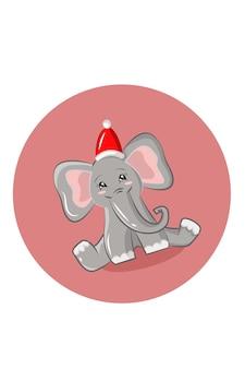 Elephant christmas vector illustration