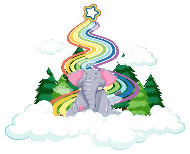Un elefante sulla nuvola con arcobaleno su sfondo bianco