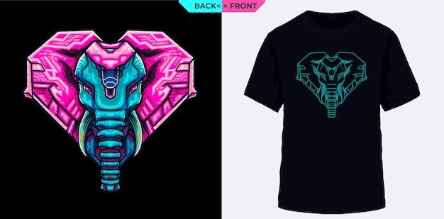 象のコブラとtシャツのスクリーン印刷に適した電気的幾何学の視覚化への愛情