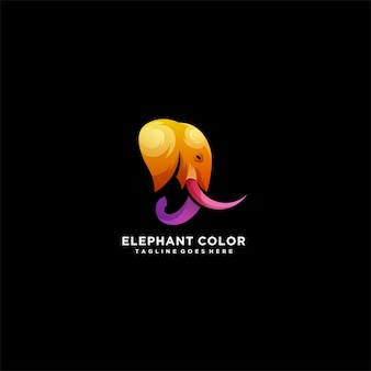 Elephant color head elephant colorful logo.