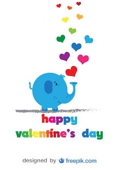 Elephant and colorful hearts card