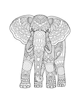 象のぬりえページ曼荼羅デザイン。プリントデザイン。