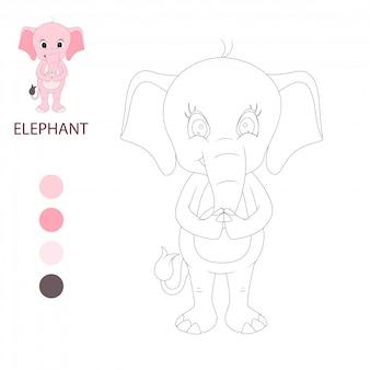 Слон милый мультфильм, книжка-раскраска