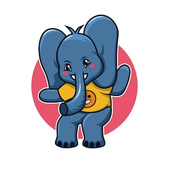코끼리 귀여운 만화 로고 그림