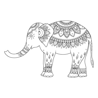 インドのエスニックフローラルで飾られた象
